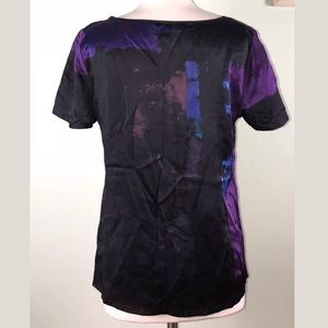 Banana Republic Tops - BR 💯 Silk Purple Abstract Blouse Career Black
